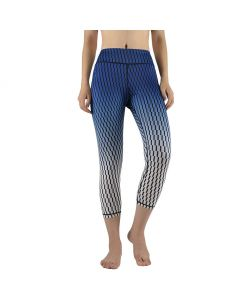 High Waist Printed Capris Pants Blue/Black